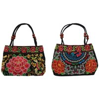 bolsa de estilo étnico chinês venda por atacado-2pcs estilo chinês Mulheres Handbag Bordado Verão Moda Étnica Handmade Flores Ladies Tote Shoulder Bags Cruz corpo, Red-Dou