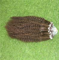 6a brazilian bakire kinky kıvırcık saç toptan satış-Orta Kahverengi Renk Brezilyalı Sapıkça Kıvırcık Remy Saç 10-30 Inç Döngü Yüzük İnsan Saç Uzantıları 6a Işlenmemiş Bakire Saç