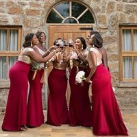Wholesale sexy wedding party dresses online - 2019 Sexy Bridesmaid Dresses Rose Gold Sequined Top Sleeveless Floor Length Maid Of Honor Gowns Plus Size Wedding Party Guest Dresses Gowns