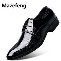 zapatos de vestir de piel de serpiente de los hombres al por mayor-Mazefeng 2019 zapatos de vestido ocasional de los hombres de cuero de piel de serpiente de grano de zapatos de boda de los hombres de Oxford Zapatos con cordones de la oficina del juego de los hombres italiana