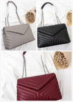 Wholesale ladies burgundy clutch bags for sale - Group buy Classic Bags V Shape Flaps Chain Bag Lady Handbags Women Shoulder handbag Clutch Tote Messenger Shopping Purse