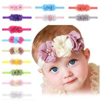 Wholesale flower elastic hair bands resale online - 2019Baby Chiffon Flower Headband Hair Accessories Handmade Diamond chiffon three flowers Baby girl cute sweet head bands elastic hair band