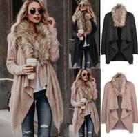 Wholesale women s crew collar jacket resale online - Cardigan Plush Jacket Colors Women Long Sleeve Faux Fur Overcoat Soft Fur Collar Jackets Asymmetrical Streetwear Knitwear LJJO6085