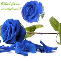 lila weiße getrocknete blumen groihandel-Günstige Getrocknete 1pc Silk Roses Künstliche Blumen Hochzeitsdekoration Gefälschte Blumen Weiß Blau Grün Rosa Rot Lila Künstliche Seide