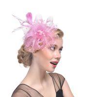 ingrosso piume di colore rosa nere-Blush Pink Vintage Cappelli da sposa Piuma Copricapo Fiore Fascinator Grande Gatsby Copricapo da sposa Per la festa di nozze Nero Bianco Navy
