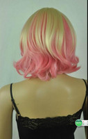 Wholesale straight pink cosplay wig for sale - WIG Cos Harajuku light blonde pink mix short curly cosplay wig