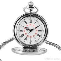 ingrosso argento orologi antichi donne-Vigilanza di quarzo d'argento liscia di alta qualità per le donne degli uomini numeri romani Design quadrante con catena corta moda antico orologio regalo cool