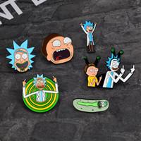 ingrosso perni per bottoni-Rick and Morty Classica icone dei cartoni animati Stile Pin smalto Badge Bottoni Spilla Anime Lovers Camicia Denim Giacca spilla