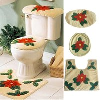 Wholesale leaves clothes resale online - New Design Creative Flower Leaves Toilet Seat Cover Toilet Sets Toilet Clothes Christmas Decorations Bath Mat Holder Closestool Lid Cover