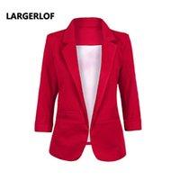 ingrosso tre quarti giacche donna-LARGERLOF Plus Size Blazer Donna Three Quarter Blazer Slim Fit Simple Donna Blazer e giacche BR55002