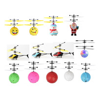 Wholesale big electric helicopters resale online - Mini RC Aircraft Flying Doll Snowman Baby Christmas Santa Claus Facial Expression Bright Ball Electric Induction Drone Helicopter Toy
