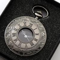 uhr halsketten großhandel-Vintage Full Black Römischen Ziffern Quarz Taschenuhr Männer Frauen Fob Uhren Halskette Anhänger Analoge Uhr Geschenk Mit Box