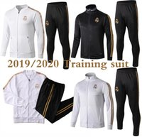Wholesale 2019 Real Madrid tracksuit soccer jacket full zipper tracksuit real madrid Maillot De Foot HAZARD ISCO jersey tracksuit
