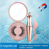 Wholesale lasting eyeliner resale online - New Hot Magnetic Liquid Eyeliner Magnetic False Eyelashes Tweezer Set Waterproof Long Lasting Eyeliner False Eyelashes