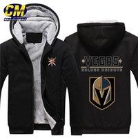 kapüşonlu sweatshirt hokeyi toptan satış-NHL Kuzey Amerikan hokeyi kalınlaşmak artı kadife fermuar ceket moda kapüşonlu sweatshirt kış rahat ceket Vegas Altın Şövalyeleri