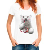 vilains t shirts achat en gros de-T-shirt pour femmes Super mignon drôle ours polaire T-shirt femme nouveauté animale vilain T-shirt ours polaire maquillage manches courtes Tee Tops