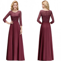 Wholesale illusion long sleeve mother bride dress resale online - Burgundy Hot Mother of the Bride Dresses Crew Neck Lace Long Sleeve Illusion Appliques Prom Gowns Evening Bridesmaids Dress bm0056