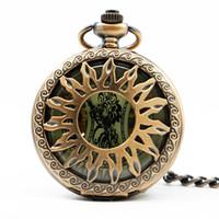 relógios de ouro de luxo venda por atacado-Luxo Rose Gold Sun Steampunk Roman Numérico Pingente Homens Mulheres Mecânica Pocket Watch Colar Cadeia PJX1253