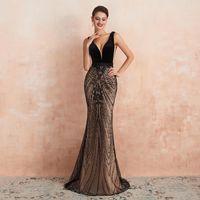 Wholesale tulle dresses real photos resale online - 2020 Sexy Trumpet Deep V Neck Evening Dress Black Sequins Champagne Prom Dresses Sleeveless Formal Party Wear Vestidos de fiesta