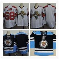 blank hockey jersey toptan satış-Mens # 68 Jaromir Jagr Florida Panterler Takımı Forması Dikişli # Kahverengi Florida Panterler Hokeyi Formalar S-3XL