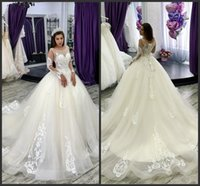 Wholesale purple white juliet wedding dress resale online - New Modest Ball Gown Wedding Dresses With Cathedral Train Sheer Neck Lace Bridal Gowns Long Sleeves White Arabic Wedding Dress Plus Size