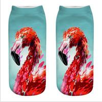 melhores meias de verão para mulheres venda por atacado-3d impressão meias flamingo bonito mulheres menina casual meias de algodão moda hip hop meias de skate impresso esportes animal meia verão melhor meia