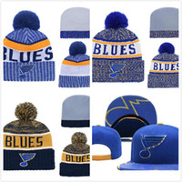 Wholesale st hat resale online - Men s St Louis Blues Ice Hockey Knit Beanie Embroidery Adjustable Hat Embroidered Snapback Caps Blue White Stitched Knit Hat