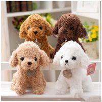 nette weihnachtspuppen groihandel-18 cm Simulation Teddy Hund Pudel Plüschtiere Niedlichen Tier Suffed Puppe für Weihnachtsgeschenk Kinder spielzeug EEA264