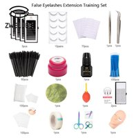 Wholesale eyelashes extension professional kit resale online - Professional Training False Eyelashes Extension Set Grafting Eye Lashes Practice Eye Pads Tweezers Glue Ring Brush Practice Kits
