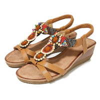 sandálias de ar de primavera venda por atacado-Moda primavera novas sandálias retro vento inclinação com flores rodada cabeça sapatos sandálias de ar lado jooyoo