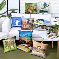 Wholesale pillow case design free resale online - Customize Animal Pillowcase Owl Print Pillow Covers Brand Advertising Gift Sofa Car Chair Seat Case Decorative Cushion Covers Free Design