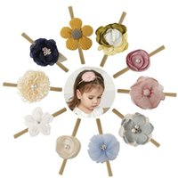 Wholesale christmas girl headbands resale online - 10 Colors Christmas Gift Hair Accessories baby girl headband flower design bow headband girl hair accessories style