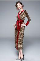 beige maxi kleider ärmel großhandel-Vintage Floral Tunika Kleider Lady Leopard Korn Maxi Runway Kleid Langarm elegante schlanke Custom Shirt Kleid