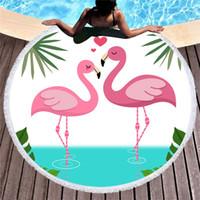 pinturas de tela al por mayor-Flamingo Toalla de playa Pintado a mano Terry Cloth Superfina Fibra Pareo Con Borlas Plegable Colorido Ventas Calientes 26cs C1