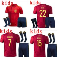 Wholesale soccer jersey shirt spain resale online - kids kit Euro Spain MORATA home soccer jersey koke ASENSIO ramos SILVA isco European cup football shirts