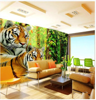 Wholesale jungle room decor for sale - Group buy Custom Photo Wallpaper For Walls D mural wallpapers Cartoon animal forest mural tiger jungle wall papers home decor