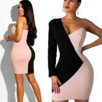 en sıcak kulüp elbiseleri toptan satış-En Yeni Sıcak Kadın Bandaj BODYCON Uzun Kollu Patchwork Bir Omuz Akşam Partisi Kulübü Kısa Şık Mini Elbise