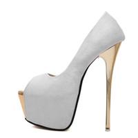 seksi pembe dikiz ön ayak topuklu toptan satış-Kadınlar Pompaları yüksek topuklu Bayan Seksi Peep Toe Pompaları Platformu ayakkabı Beyaz Siyah Pembe Düğün parti ayakk ...