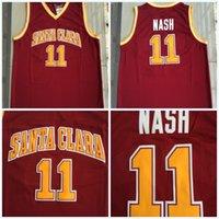 faculdade rápida venda por atacado-Mens NCAA Santa Clara 11 STEVE NASH Jerseys Dos Homens de Basquete Jersey Do Vintage 100% Costurado College Basketball Jerseys S-3XL Transporte Rápido