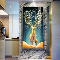 ingrosso pittura d'alce-HD Stampato oro Elk moderna Semplicità dell'albero della tela di canapa della parete della pittura di arte Immagini per il salone della camera da letto