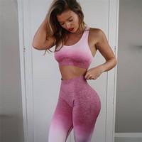 yoga seti fitness giyim toptan satış-Kadın Yoga Set Spor Giyim Ombre Dikişsiz Tayt + Spor Sutyeni Egzersiz Spor Takım Elbise Kadın Enerji Spor Spor Aktif giymek