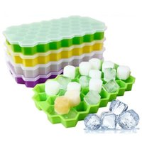 ingrosso stampo rendono-Silicone Ice Cube Vassoio con coperchio Freeze Mold Honeycomb Stampo Ice Mold 37 Cavità Ice-making Box per Bar Party Tools Popsicle Mould