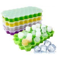 popsicle trays groihandel-Silikon-Eis-Würfel-Behälter mit Deckel Freeze-Mould Honeycomb-Form-Eis-Form 37 Cavity Eisspeicher-Box für Bar-Party-Tools Popsicle Moulds