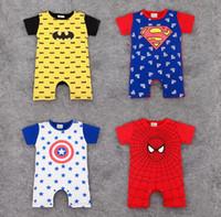ropa spiderman al por mayor-Nueva ropa de diseñador para niños Boy Stars Spiderman estampado de manga corta mameluco babyClimb 100% algodón mameluco de verano de alta calidad