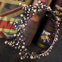 diamant de mariage diadème vintage achat en gros de-Baroque Vintage Cristal Couronnes De Mariée Perles Bandeaux Diadèmes De Mariée Bandeaux De Mariage Diadème Reine Couronne Rétro De Mariage Diadème Avec Diamant