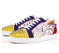 en iyi gelinlik erkekler toptan satış-En iyi Stil 13 Renkler Spike Casual Yürüyüş Yeni Tasarım Deri Eğlence Düz Erkek Kadın En kaliteli Kırmızı Alt Sneakers Parti Gelinlik