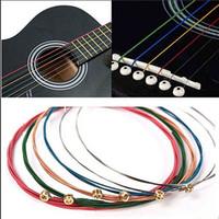 гитара красочная оптовых-1 компл. 6 шт. Радуга красочные гитарные струны E-A для акустической народной гитары классическая гитара многоцветный