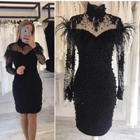 Wholesale party decorations fuchsia resale online - Sexy Black White Short Prom Dresses Long Sleeves High Neck Full Beaded Cocktail Party Dresses with Fur Decoration Sexy Club Wear