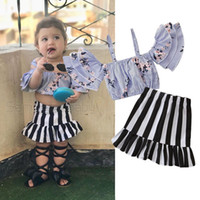 Wholesale baby girl korean clothing for sale - Retail girls boutique outfits summer skirt set Korean fashion striped flower strap shirt ruffle skirt baby tracksuit designer clothes