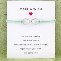 machen unendliche armbänder großhandel-Neue unendlich wunsch Wrap armbänder mit Geschenkkarte frauen Make A Wish charme wachsseil Armband Für Männer Modeschmuck Geschenk